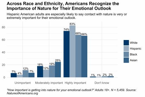 Graph depicting importance of getting into nature for adult respondents' emotional outlook.